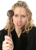 Angry Blonde Female Judge Stock Photo