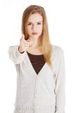Angry blonde woman pointing on you Stock Image