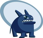 Angry blue beast. Illustration of a funny blue beast Stock Image