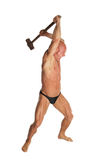 Angry Bodybuilder With Hammer. Angry Fit Bodybuilder With Hammer On White Isolated Background Stock Images
