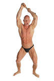 Angry Bodybuilder With Hammer. Angry Fit Bodybuilder With Hammer On White Isolated Background Stock Photos
