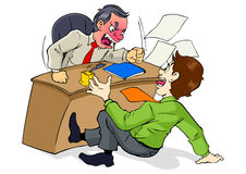 Angry Boss. Cartoon illustration of a boss who is upset to his employee Royalty Free Stock Photography