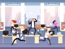 Angry boss. Chaos in office with employees in panic. Businessman in stress and deadline vector concept. Illustration of running employee, furious management stock illustration
