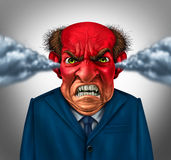 Angry Boss. Concept as an outraged business manager with a short temper blowing steam and foaming at the mouth as a corporate symbol for anger and stress at Royalty Free Stock Photography