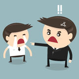 Angry boss and cry employee, flat design. Vector Royalty Free Stock Photography