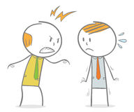 Angry Boss. Doodle stick figure: Boss shouting his employee Royalty Free Stock Photo
