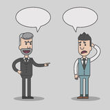 Angry boss and employee cartoon with speech bubbles. Vector, illustration Royalty Free Stock Images