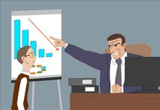 Angry boss with employee. Director worries about poor results and and point at diagram at flipchart in the office. Work space with computer. desk, plants, lamp stock illustration