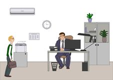 Angry boss with employee. Director worries about poor results and and point at diagram at flipchart in the office. Work space with royalty free illustration