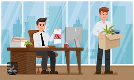 Evil Boss Fired Employee. Vector Flat Illustration stock illustration