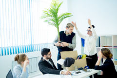Angry boss firing. An angry boss is firing his employee Stock Photography