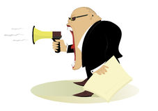 Angry man. Gives directions by megaphone Stock Images