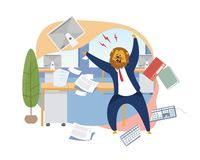 Angry Boss with Lion Head Vector Illustration royalty free illustration