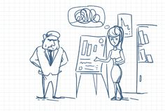 Angry Boss Looking At Report Or Sales Results On Clip Board During Business Woman Presentation Doodle. Vector Illustration Royalty Free Stock Images