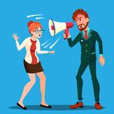 Angry Boss Man Screaming In Megaphone At Scared Woman Empolyee Vector. Isolated Illustration royalty free illustration