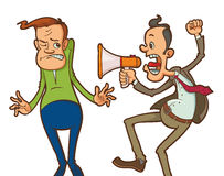 Angry boss with megaphone Royalty Free Stock Photos