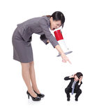 Angry boss with megaphone yelling to Staff royalty free stock images