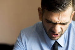 Angry boss. At office expressions.  raw format Royalty Free Stock Photography