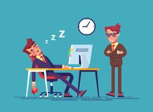 Angry boss and office worker falling asleep at work in office. Modern  illustration. Angry boss and office worker falling asleep at work in office. Exhausted Stock Photos