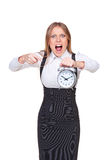 Angry boss pointing at the clock Stock Images