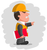 Angry boss with protective helmet and with red folder Royalty Free Stock Photo
