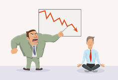 Angry boss and relaxed worker. Vector illustration of office work Stock Image