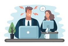 Angry Boss is scolding manager. manager is hiding under table. Office life. Businessman screaming at subordinate. Vector cartoon illustration of Angry Boss Stock Images