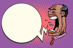 Angry boss screaming, the giant head. African American people. Pop art retro vector illustration Stock Image