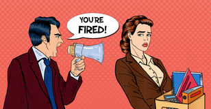 Angry Boss Screaming in Megaphone and Fireing Woman. Pop Art. Vector illustration Stock Image