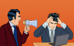 Angry Boss Screaming in Megaphone on his Worker. Pop Art. Vector illustration Royalty Free Stock Images
