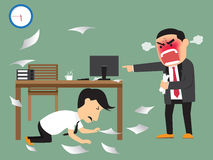 Angry boss shooting his employee on deadline. Royalty Free Stock Photo
