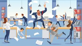 Angry Boss Shout In Chaos Office Because Of Failure Deadline. Stressed Vector Cartoon Characters. Royalty Free Stock Photos