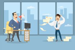Angry boss shouting. Angry boss shouting at employee with documents at office vector illustration