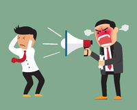 Angry boss shouting at employee on megaphone. Royalty Free Stock Photography