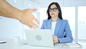 Angry Boss Shouting on Female Employee, Reaction royalty free stock photography