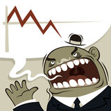Angry boss shouting. Financial crisis Royalty Free Stock Image