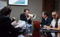 Angry boss shouting at people royalty free stock image