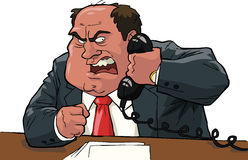 Angry boss. Shouting into the phone Stock Photography
