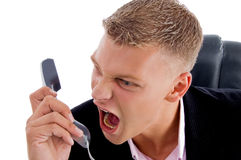 Angry boss shouting on phone Stock Photo