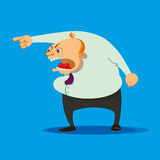 Angry boss swearing. On a blue background Royalty Free Stock Photography