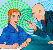 Angry boss swears on the subordinate frightened. Angry bald boss swears on the subordinate frightened in a pop art style Royalty Free Stock Image