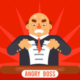 Angry Boss Tearing Sheet White Paper Contract Character Symbol Business Icon Background Concept Flat Design Template Stock Image