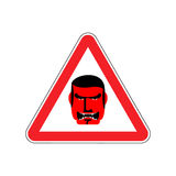 Angry Boss Warning sign red. Evil Head Hazard attention symbol. Royalty Free Stock Image