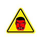 Angry Boss Warning sign yellow. Evil Head Hazard attention symbo Stock Photo