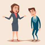 Angry boss woman character screams and shouting to worker. Employee concept design. Vector flat cartoon illustration Stock Photos