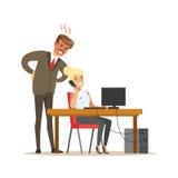 Angry boss yelling at his secretary. Colorful cartoon character vector Royalty Free Stock Images