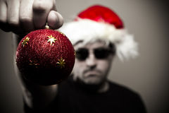 Angry bouncer at Christmas. Threatens your Christmas happiness Royalty Free Stock Images