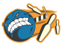 Angry bowling ball sticker vector concept Stock Photo