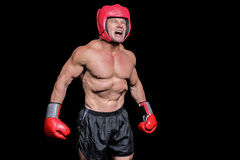 Angry boxer against black background Stock Photos