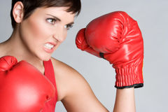 Angry Boxing Woman Stock Photo